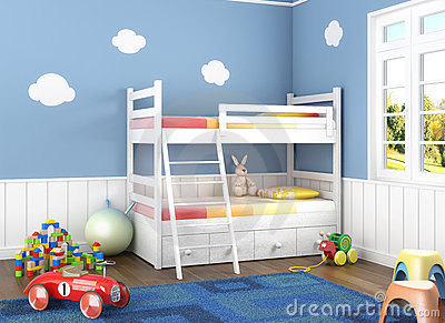 Blauwe Kinderkamer Met Speelgoed Foto  SpiderPic Royalty-Vrije Stock ...