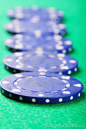 Blue chips in a row