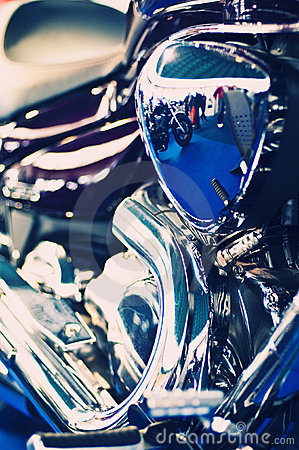 Blue chopper motorcycle engine
