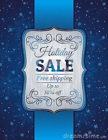 Free Blue Christmas Background And Label With Sale Offe Royalty Free Stock Images - 34852899