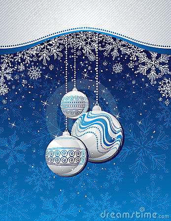 Blue  christmas background with golden balls