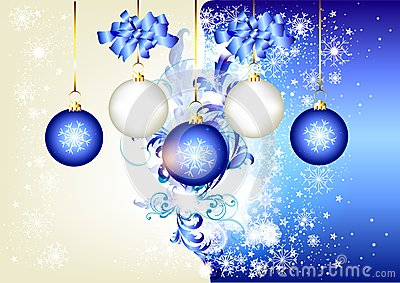 Blue christmas background with space and baubles