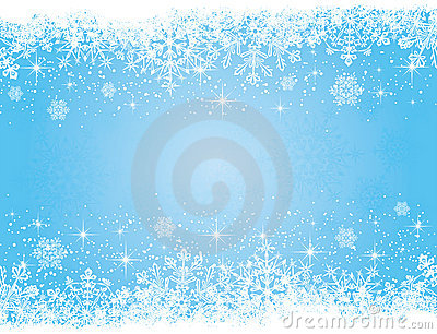 Blue Christmas background with stars and snowflake