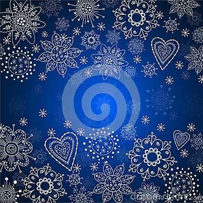 Blue christmas background with white snowflake