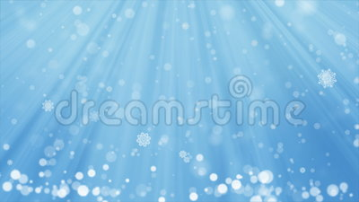 Blue Christmas Background and Winter Snow Fall with seamless loop. Stock Photo