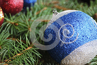 A blue christmas ball