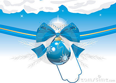 Blue Christmas ball with bow and tinsel. Card