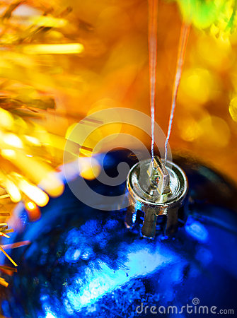 Blue christmas ball hang in decoration