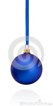 Free Blue Christmas Ball Hanging On Ribbon Isolated On White Royalty Free Stock Image - 46234186