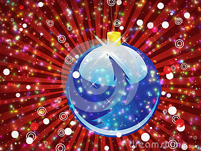 Blue Christmas ball on sparkle red background