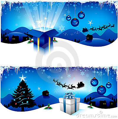 Blue Christmas banners