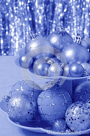 Blue Christmas Card with Balls  - Stock Photos