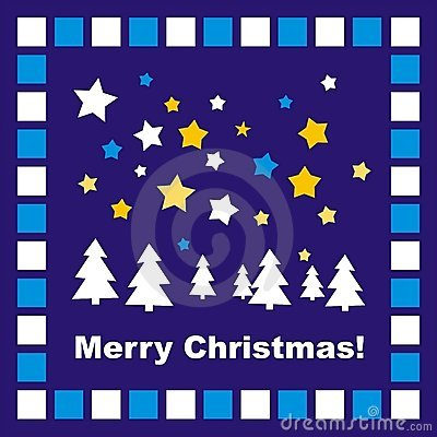 Blue Christmas card or invitation with mosaic