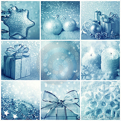 Free Blue Christmas Collage Royalty Free Stock Images - 21680219
