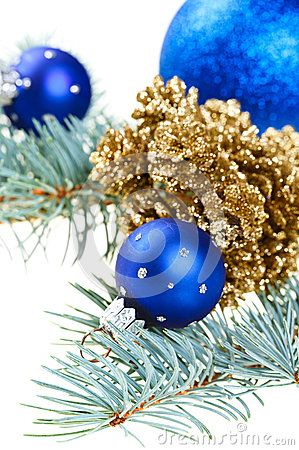 Blue Christmas decoration balls with golden cones