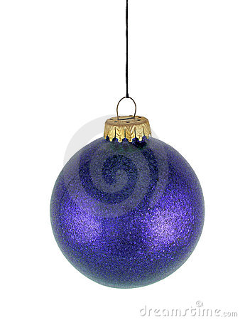 Blue christmas glass ball on white background