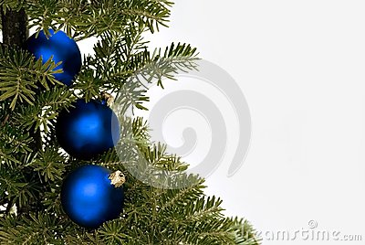 Blue christmas glass balls on the tree