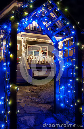Blue Christmas Light Archway With Snowman