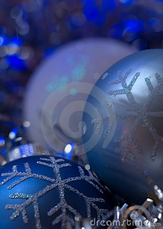 Blue christmas ornament - blue cold background