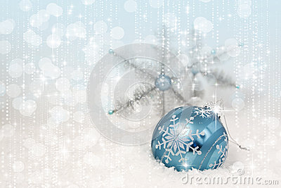 Blue Christmas Ornament Snowflakes
