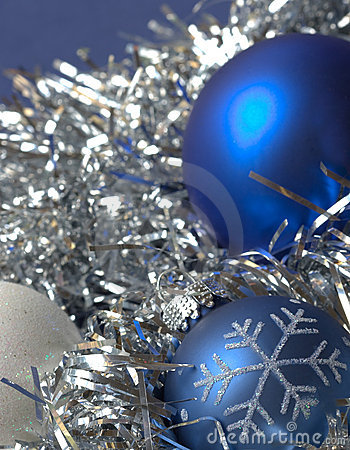 Blue christmas ornaments - silvery background