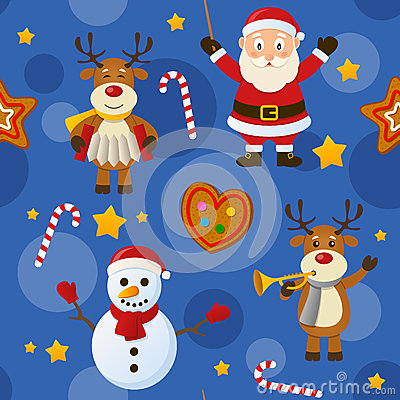 Free Blue Christmas Seamless Pattern Stock Photos - 35411573