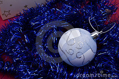 Blue christmas tinsel garland decoration