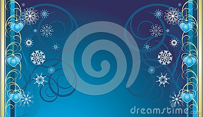 Blue Christmas toys with snowflakes. Banner
