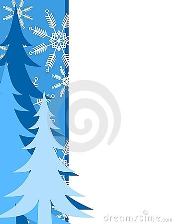 Blue Christmas Tree Border