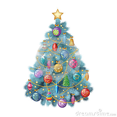 Free Blue Christmas Tree With Colorful Ornaments, Vector Illustration Royalty Free Stock Photography - 62814057