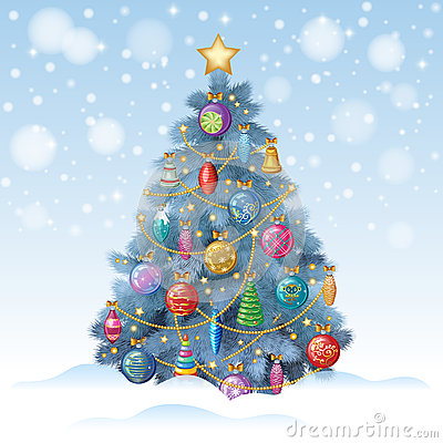 Free Blue Christmas Tree With Colorful Ornaments, Vector Illustration Royalty Free Stock Photo - 63535515