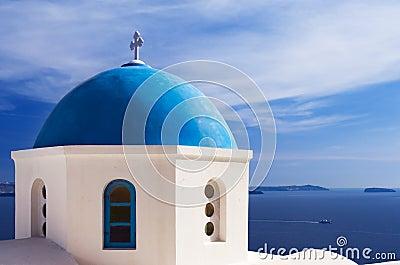 Blue church dome in Santorini, Greece