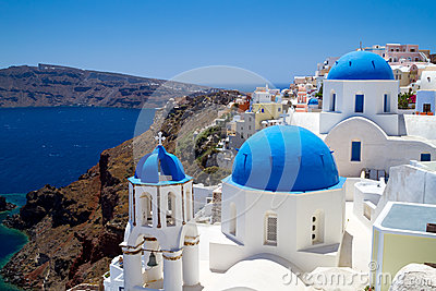 Blue churches of Oia village on Santorini