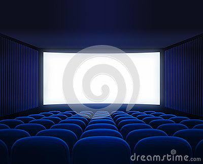 Blue cinema empty hall with blank screen for movie