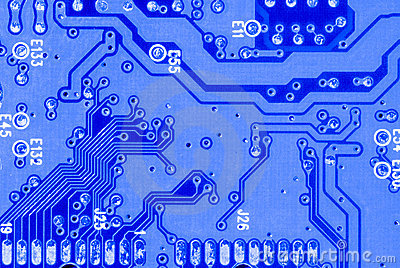 Blue circuit board closeup