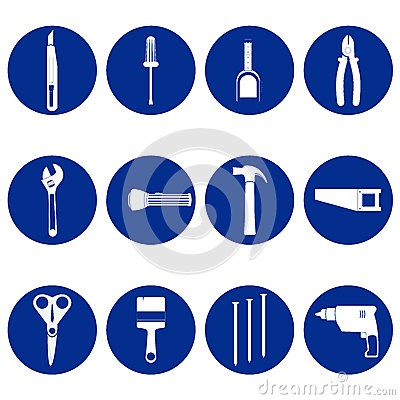 Blue circular icons of tools