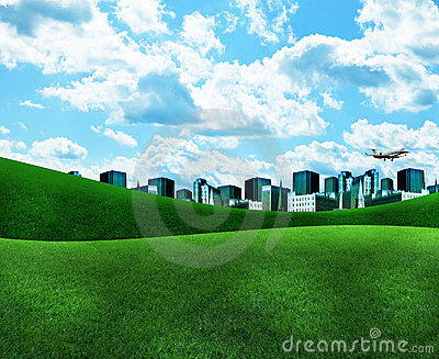 Blue City with Green Grass and Clouds