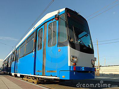 Blue city tram