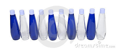Blue and Clear Bottles
