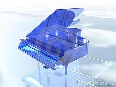 Blue clear glass piano
