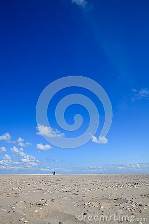 A blue clear sky with beach and ocean