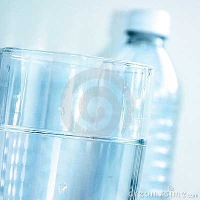 Blue Clear Water Glass and Water Bottle