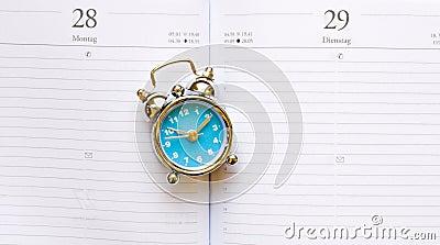 Blue clock on agenda