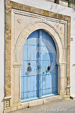 Blue closed tunisian doors