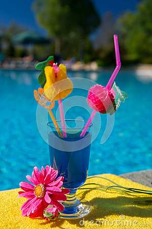 Blue cocktail at swimming pool