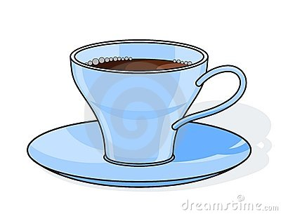 Blue coffee cup with plate