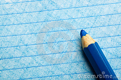 Blue color pencil with coloring