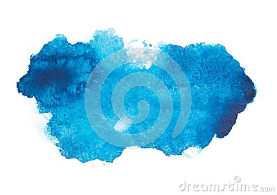 Blue colorful abstract hand draw watercolour
