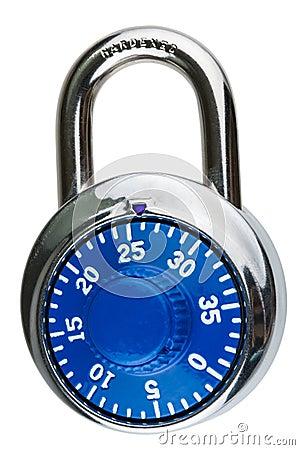 A blue combination pad lock