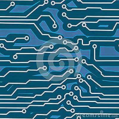 Blue computer circuit board seamless background